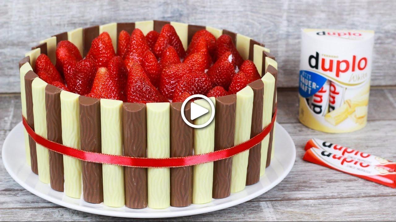 Duplo Torte mit Erdbeeren für deine Freunde - Sie werden